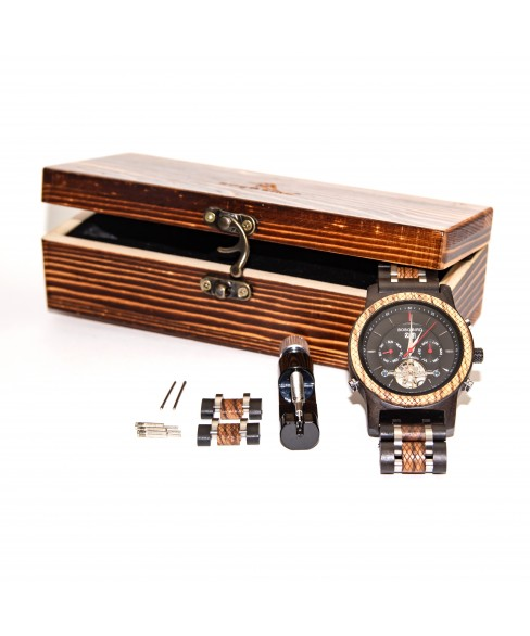 Meeste mehaaniline puidust kronograaf käekell BBM007